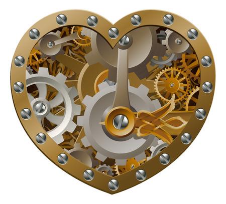Steampunkuurwerk hart concept met een hart vorm gemaakt van radertjes en tandwielen Vector Illustratie