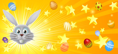 Easter banner background banner of stars and decorated Easter eggs flying out and happy white Easter bunny