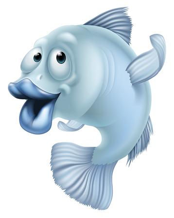 Een illustratie van een blauwe cartoon vis mascotte