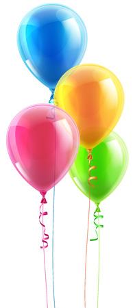 다채로운 생일 파티 풍선과 리본의 집합의 그림 일러스트