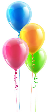 An illustration of a set of colourful birthday or party balloons and ribbons
