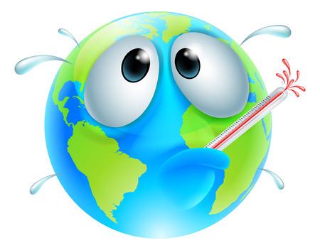 Slecht aard bol concept van een wereldbol met een koorts zweten en barsten van een thermometer. Kan een concept voor de opwarming van de aarde