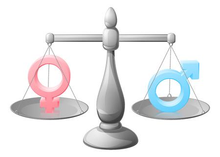 Geslacht symbool schalen concept van gelijkheid met man en vrouw of man en vrouw tekens zijn gebalanceerde of tegen elkaar afgewogen Stock Illustratie