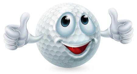 Een illustratie van een cartoon golfbal teken doen een thumbs up Stock Illustratie