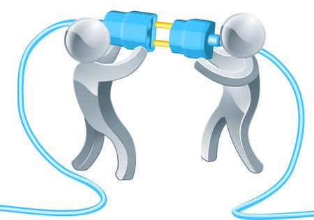 Het verbinden van mensen business concept van twee zilveren mascottes stekkers
