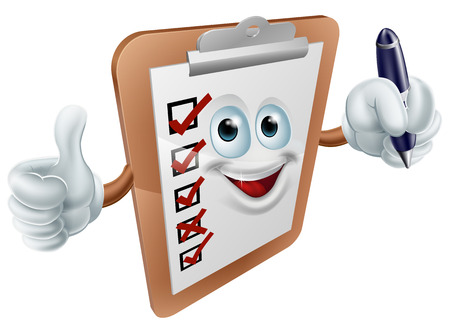 A cartoon clipboard mascot holding a  pen and doing a thumbs up Vector