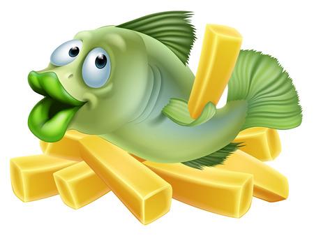fish and chips: Una historieta de un pescado y patatas fritas, el concepto de mariscos