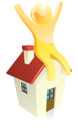 Happy person sitting on a house with their arms raised. Could be concept for finding perfect first home or mortgage Vector