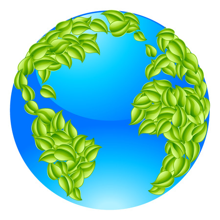 gaia: Green leaves globe earth world. Conceptual illustration of a globe with leaves forming the continents Illustration