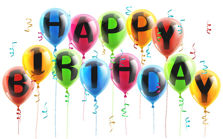 baloons: An illustration of colorful Happy Birthday balloons with streamers or confetti