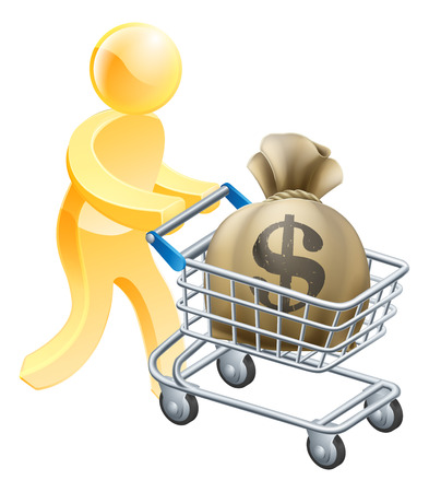 Person with shopping cart or trolley with a large sack of money in it. Vector