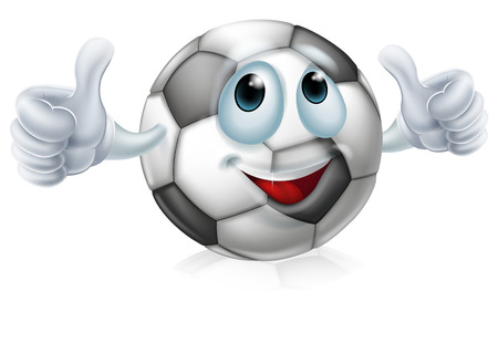 An illustration of a cartoon soccer ball or football ball character doing a thumbs up Vector