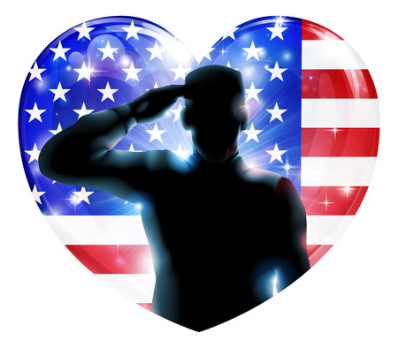 heros: Illustration for 4th July Independence Day or veterans day of a soldier saluting in front of American flag shaped as a heart Illustration
