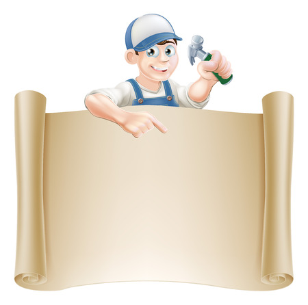 peek: A carpenter or builder holding a claw hammer and peeking over a scroll banner and pointing