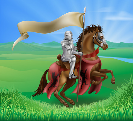 A red medieval knight in armor riding on horseback on a brown horse holding a flag or banner in green field of grass with lion insignia Illustration