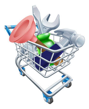 troley: Tool shopping cart illustration of a shopping supermarket trolley full of tools