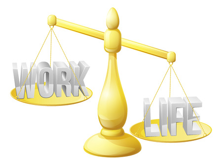 Work life balance concept, work and life on scales with not enough work getting done Vector