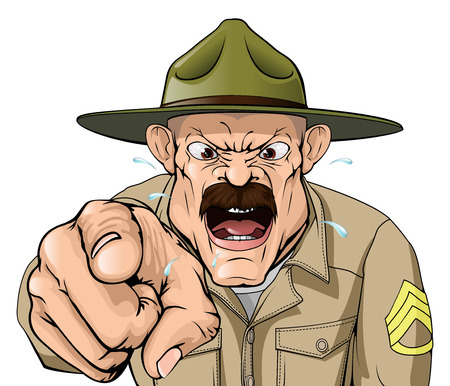 Een illustratie van een cartoon boze bootcamp drill sergeant karakter