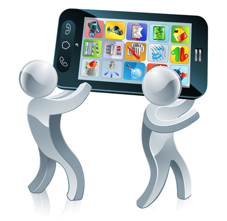 Silver people walking along holding a huge mobile phone  Vector
