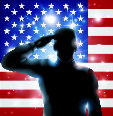 julio: Soldado patriótico o veterano saluda delante de una bandera americana Cuarta julio, Día Verterans o Día de la Independencia ilustración