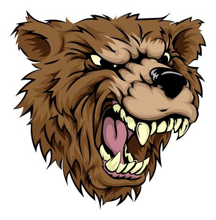 An illustration of a fierce bear animal character or sports mascot Ilustração
