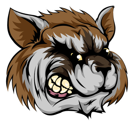 An illustration of a fierce raccoon animal character or sports mascot