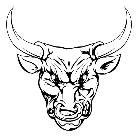 A black and white illustration of a fierce bull animal character or sports mascot