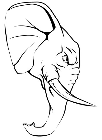 A black and white illustration of a fierce elephant animal character or sports mascot
