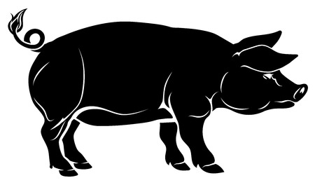An illustration of a pig, could be a food label or menu icon for pork