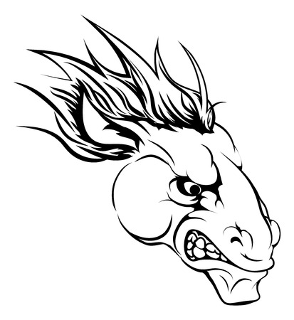 A black and white illustration of a fierce horse animal character or sports mascot