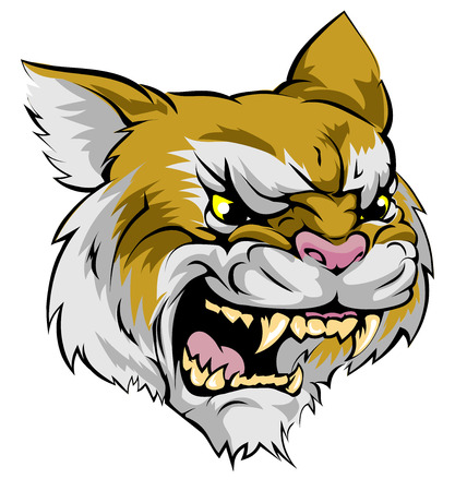 An illustration of a fierce wildcat animal character or sports mascot