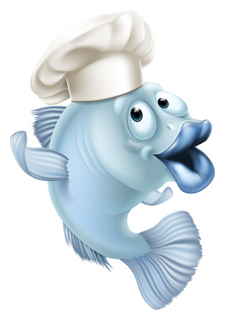 An illustration of cartoon character fish wearing a chef hat and waving