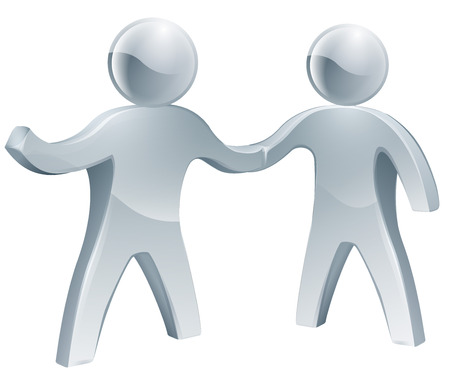 Cooperation concept of two people shaking hands in agreement