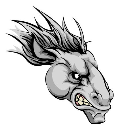 An illustration of a fierce horse animal character or sports mascot