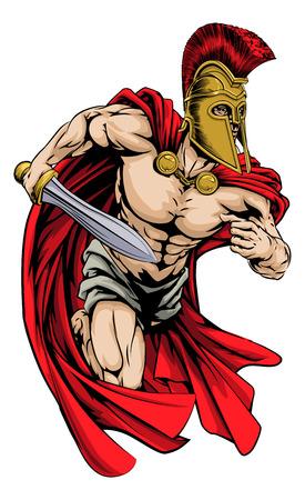 칼을 들고 트로이 목마 또는 스파르타 스타일의 헬멧에 전사 문자 나 스포츠 마스코트의 그림