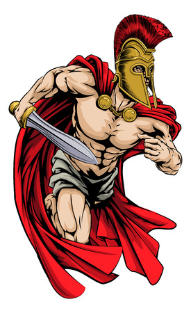 An illustration of a warrior character or sports mascot  in a trojan or Spartan style helmet holding a sword  Ilustração
