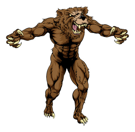 An illustration of a Bear scary sports mascot with claws out Illustration