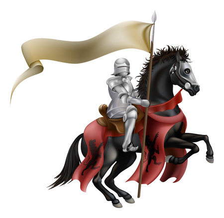 An illutration of a knight mounted on a black horse with flag