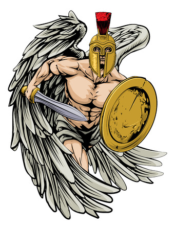 An illustration of a warrior angel character or sports mascot  in a trojan or Spartan style helmet holding a sword and shield Stock Vector - 30375170