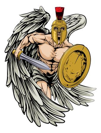 剣と盾を保持しているトロイの木馬またはスパルタ スタイル ヘルメットで、戦士天使の文字またはスポーツのマスコットの図