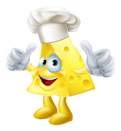 Een illustratie van een kaas-kok karakter met chef-koks hoed van het geven van een thumbs up