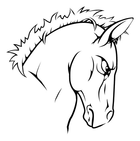 A black and white illustration of a fierce horse animal character or sports mascot Illustration
