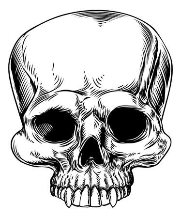 Un dessin d'un crâne humain dans un style de gravure sur bois gravé