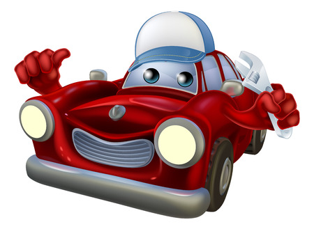 An illustration of a red cartoon car character wearing a cap and holding a spanner while giving a thumbs up.