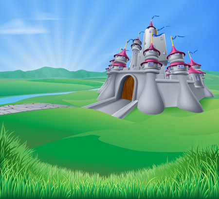 An illustration of a cartoon fantasy fairytale medieval castle in a landscape of a rolling hills Vectores