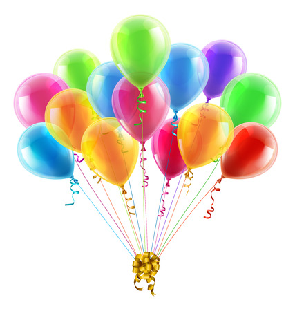 An illustration of a set of colourful birthday or party balloons with ribbons tied together with a big gold bow