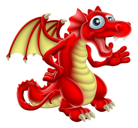 Cartoon illustration of a friendly Red Dragon smiling and waving