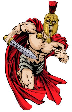 剣を保持しているトロイの木馬またはスパルタ スタイル ヘルメットの戦士文字またはスポーツのマスコットのイラスト