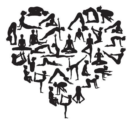 Een hart vorm gemaakt van silhouetten in yoga of pilates poses Stock Illustratie
