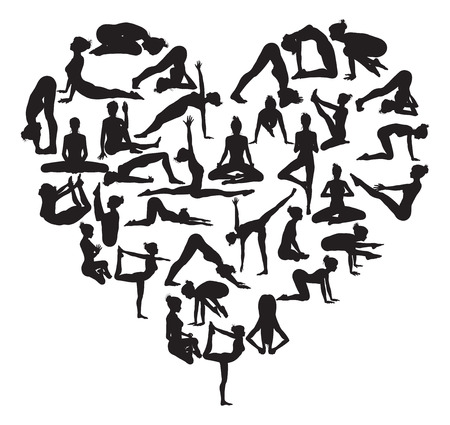 A heart shape made from silhouettes in yoga or pilates poses